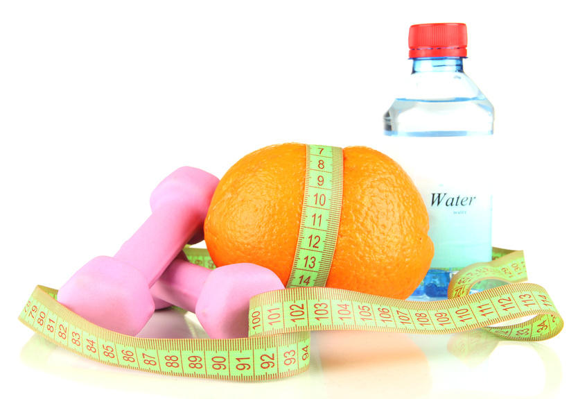 Healthy items: Water, orange, dumbbell